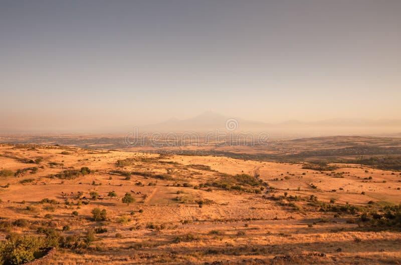 Montaña bíblica famosa de Ararat y de campos extensos imagenes de archivo