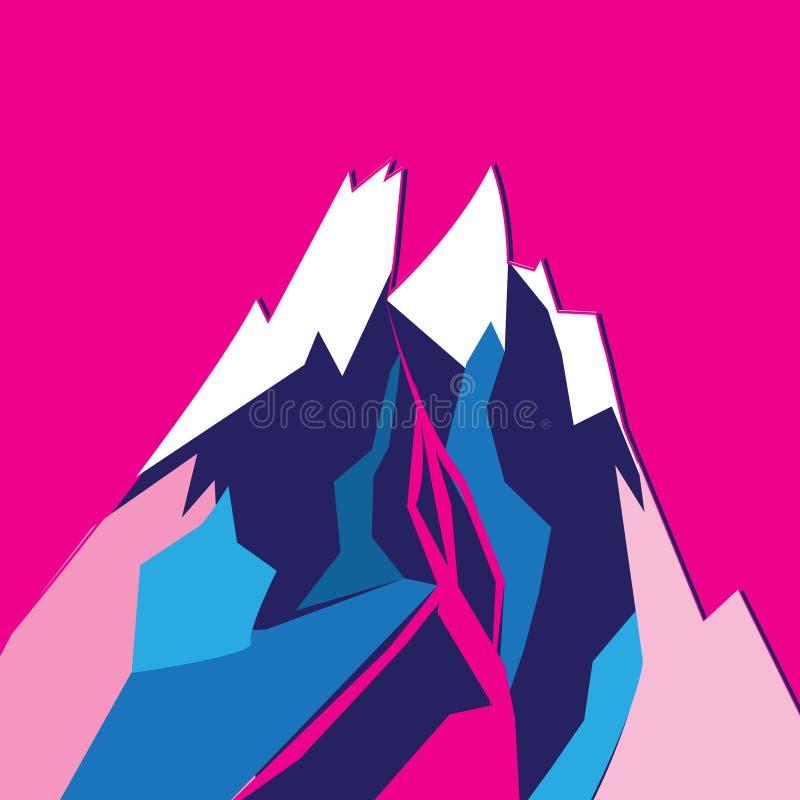 Montaña coloreada brillante gráfica del vector stock de ilustración