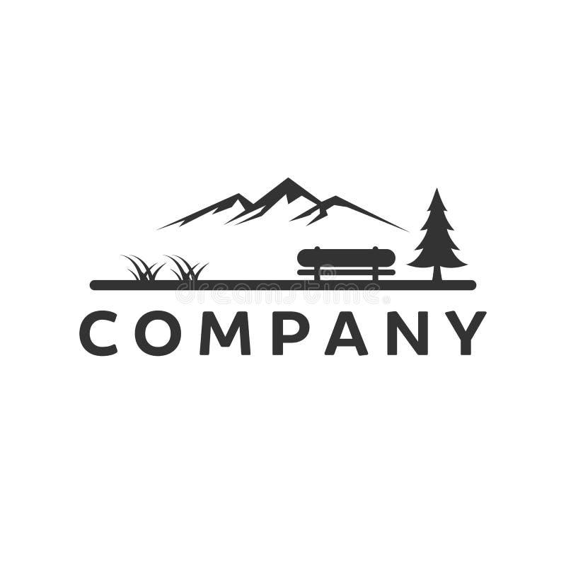 Montaña con diseños del logotipo del parque ilustración del vector