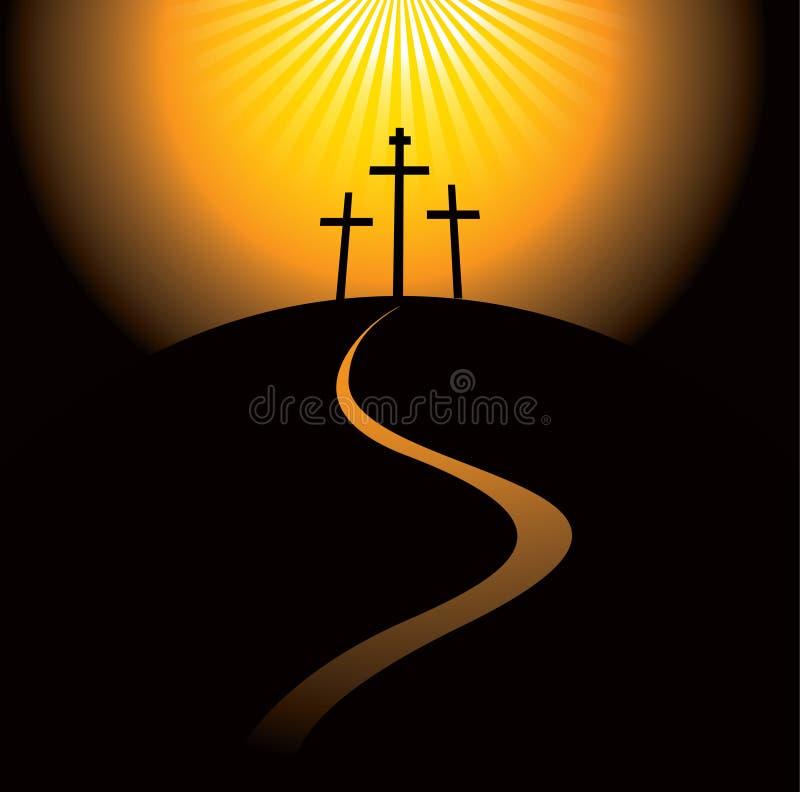 Montaña con tres cruces stock de ilustración