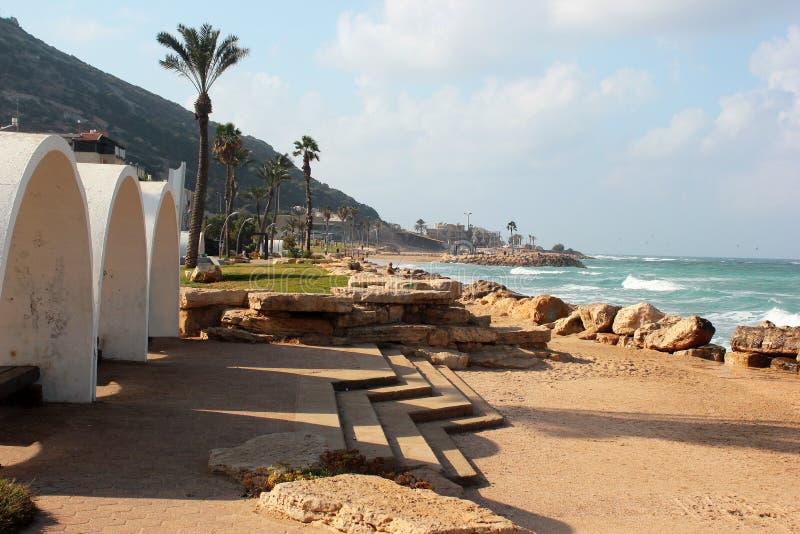 Montaña de Carmel y playa arenosa en Haifa, Israel imagen de archivo