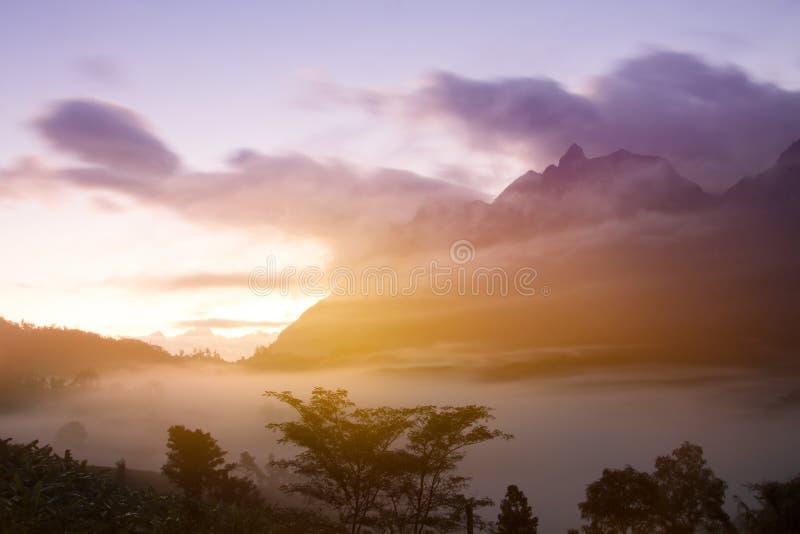Montaña de Doi Luang Chiang Dao con puesta del sol y la niebla en el punto de vista foto de archivo libre de regalías