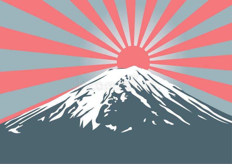 Montaña de Fuji con brillo del sol en pico fotografía de archivo