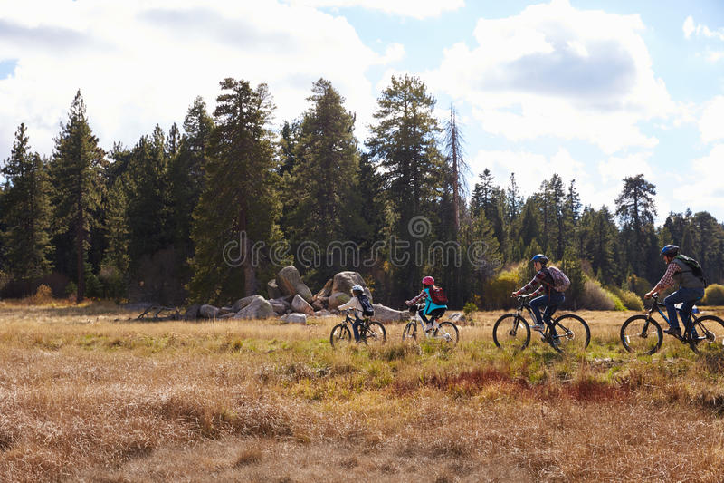 Montaña de la familia biking en el campo, Big Bear, California fotos de archivo libres de regalías