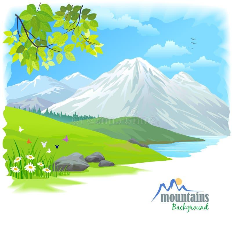 Montaña de la nieve y colinas verdes stock de ilustración