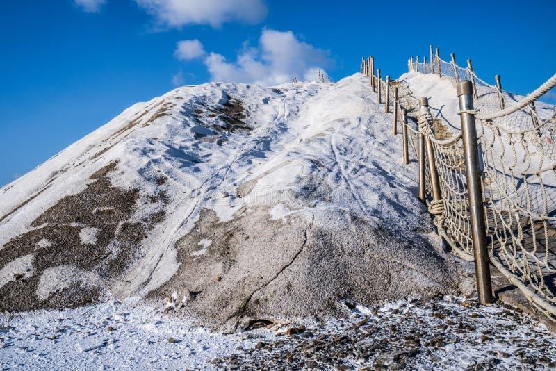 Montaña de la sal de QiguCigu, Tainan, Taiwán, hecho por la sal condensada en el sólido y la masa extremadamente dura con años de fotografía de archivo libre de regalías