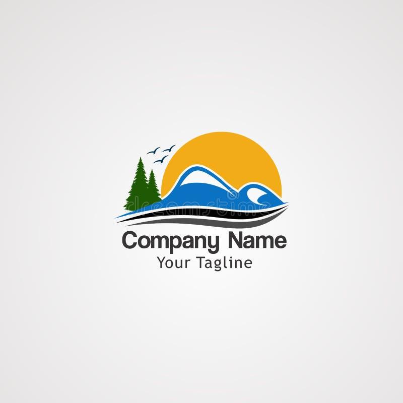 Montaña de la salida del sol con vector del logotipo de los pájaros de vuelo, el elemento del icono, y la plantilla para la compa ilustración del vector