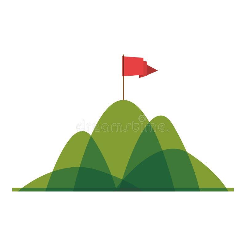 Montaña de la silueta con la bandera roja libre illustration