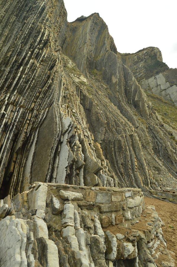 Montaña de las formaciones geológicas del tipo la UNESCO vasca del flysch de la ruta de Geopark Juego filmado de tronos Playa de  imágenes de archivo libres de regalías