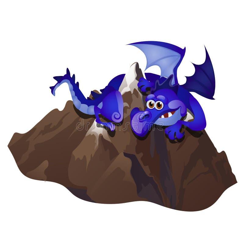 Montaña de piedra del abarcamiento azul fabuloso grande del dragón aislada en el fondo blanco Ejemplo del primer de la historieta ilustración del vector