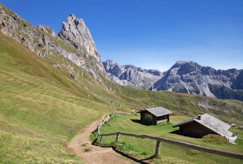 Montaña de Seceda en las dolomías foto de archivo libre de regalías