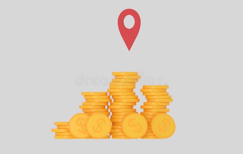 Montaña del efectivo del dinero GPS ilustración 3D ilustración del vector