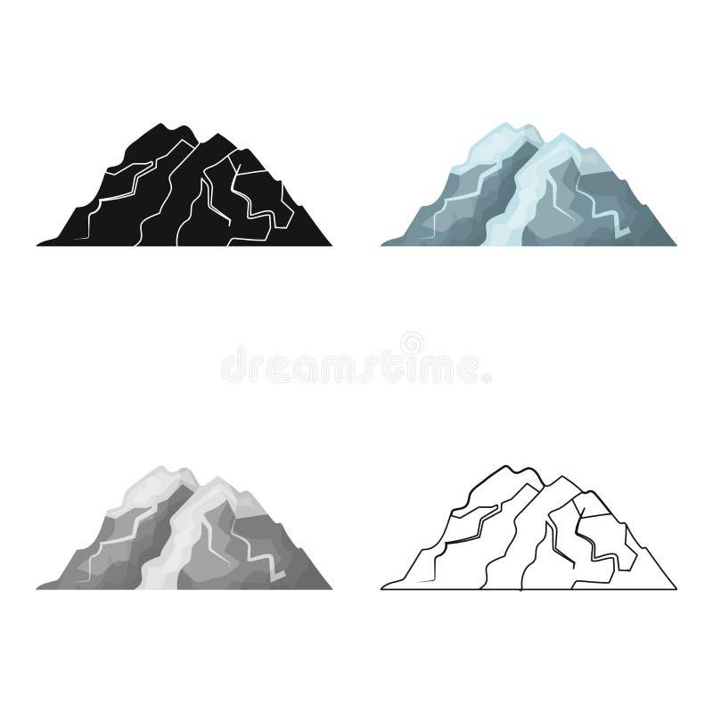 Montaña del hielo todas las grietas La montaña de la cual icebergs Diversas montañas escogen el icono en vector del estilo de la  ilustración del vector