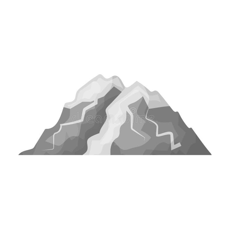 Montaña del hielo todas las grietas La montaña de la cual icebergs Diversas montañas escogen el icono en vector monocromático del libre illustration