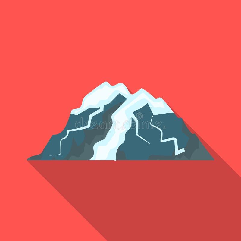 Montaña del hielo todas las grietas La montaña de la cual icebergs Diversas montañas escogen el icono en vector plano del estilo stock de ilustración