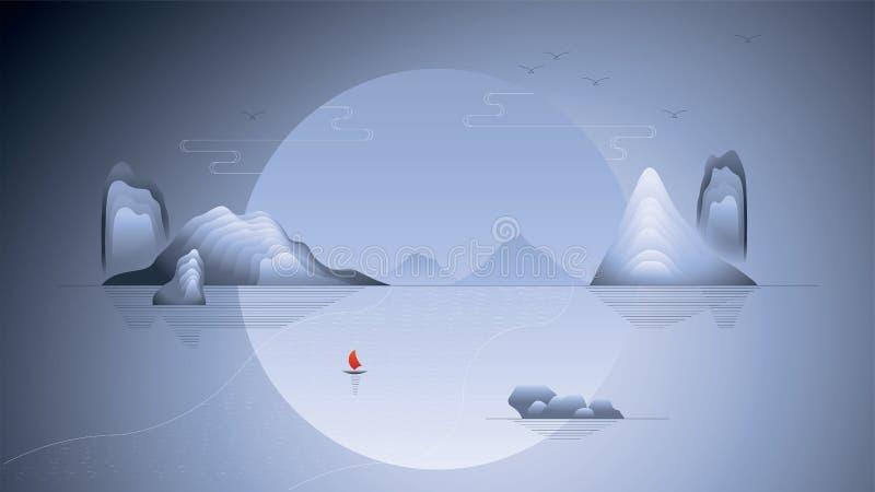 Montaña del paisaje con nuevo estilo chino tradicional del ejemplo stock de ilustración