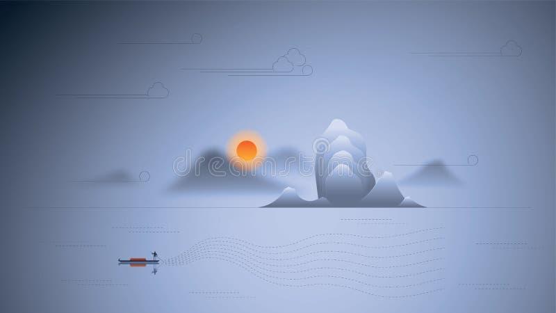Montaña del paisaje con nuevo estilo chino tradicional del ejemplo ilustración del vector