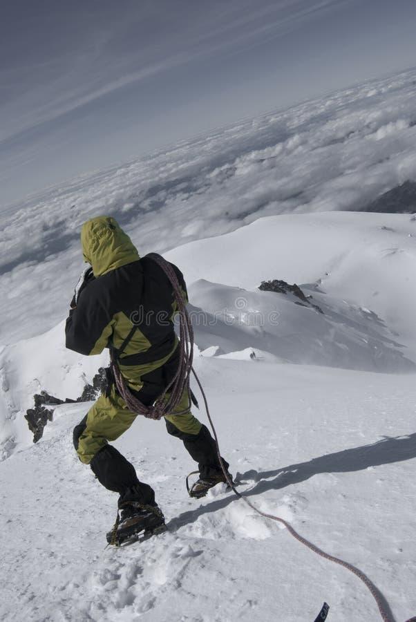 Montaña descendente del blanc del mont fotos de archivo