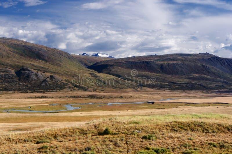 Montaña River Valley con la hierba amarilla en un fondo de montañas y de glaciares nevados imagen de archivo libre de regalías