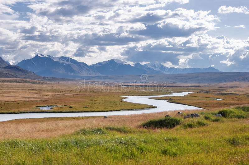 Montaña River Valley con la hierba amarilla en un fondo de montañas y de glaciares nevados fotos de archivo libres de regalías