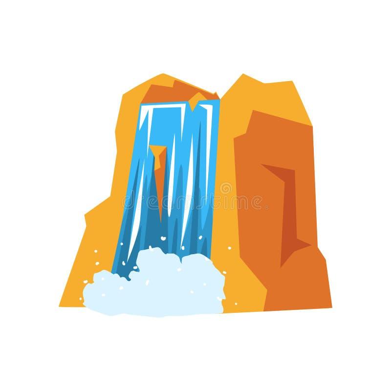 Montaña rocosa colorida y cascada hermosa con agua azul pura Elemento del diseño del paisaje Concepto de la naturaleza stock de ilustración