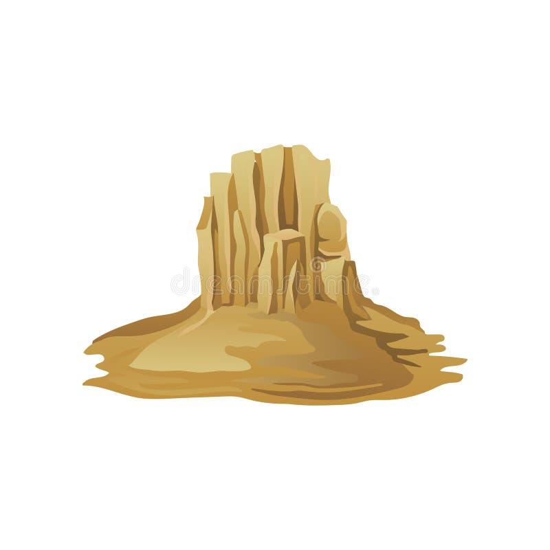 Montaña rocosa grande rodeada con la arena Desierto de Judean Elemento plano del vector para el cartel o la bandera del promo ilustración del vector