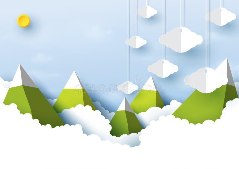 Montaña, sol y nublado en estilo del arte del documento de información del cielo azul libre illustration