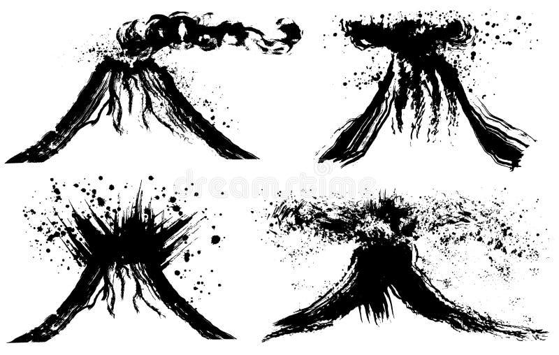 Montaña y montaña del volcán stock de ilustración