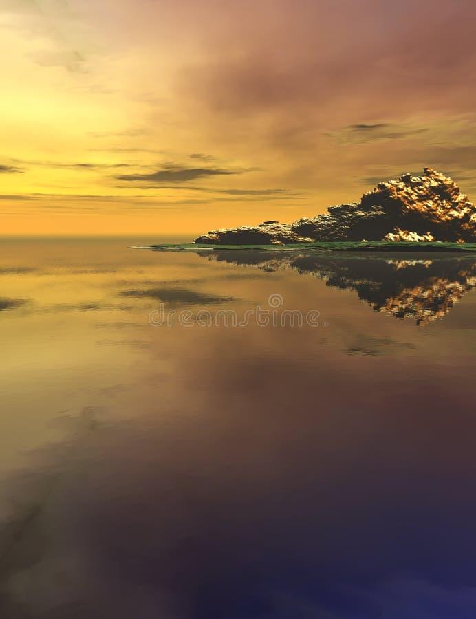 Montaña y océano en la puesta del sol imágenes de archivo libres de regalías