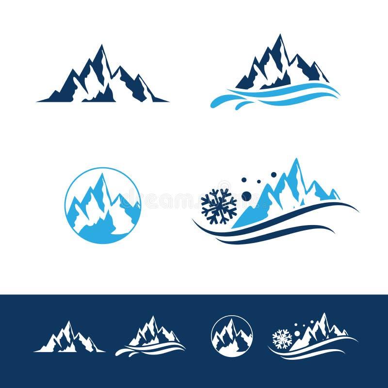 Montaña y roca Logo Set plano fotografía de archivo
