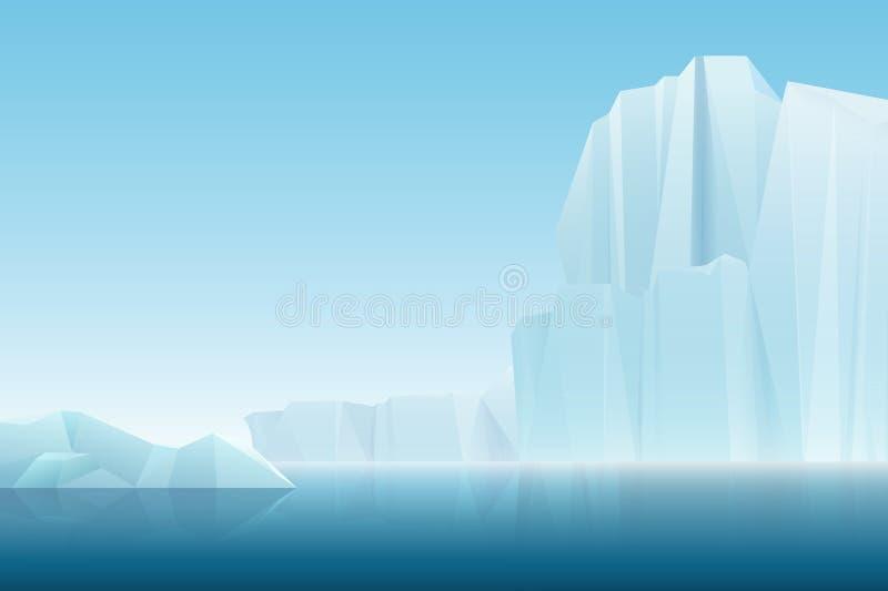 Montañas árticas del hielo del iceberg de la niebla suave realista con el mar azul, paisaje del invierno Fondo de la historieta d ilustración del vector