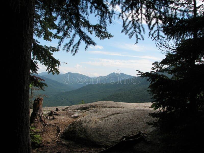 Montañas blancas a través de árboles foto de archivo libre de regalías