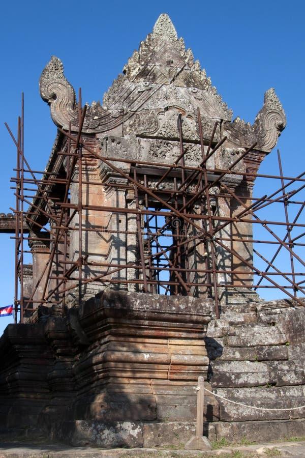 Montañas Camboya, Gopura V de Dangrek la puerta camboyana de la entrada al templo del siglo XI de Preah Vihear foto de archivo libre de regalías