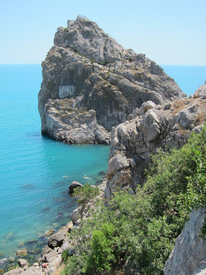 Montañas de Crimea, diva de la roca, Cat Rock, Simeiz Soporte Ai-Petri Tipos de Crimea fotos de archivo