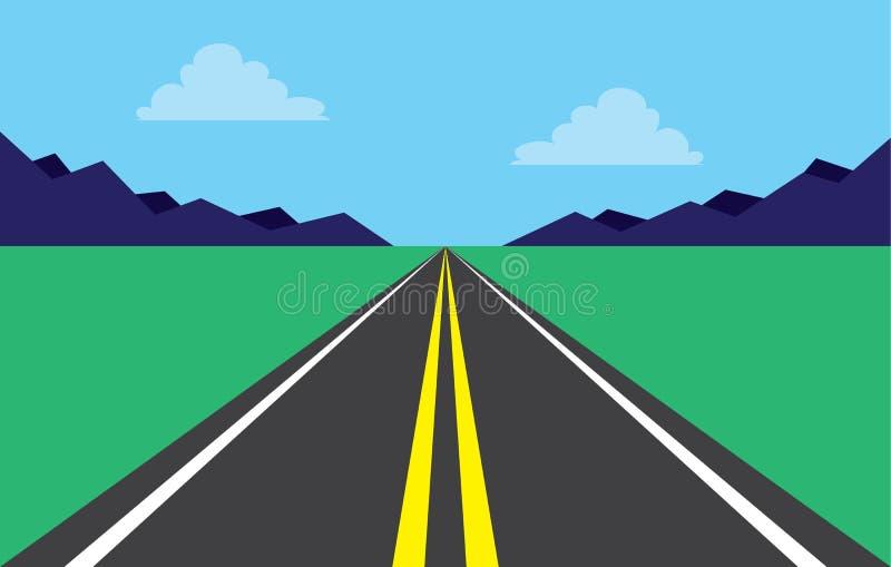 Montañas de la carretera del camino stock de ilustración