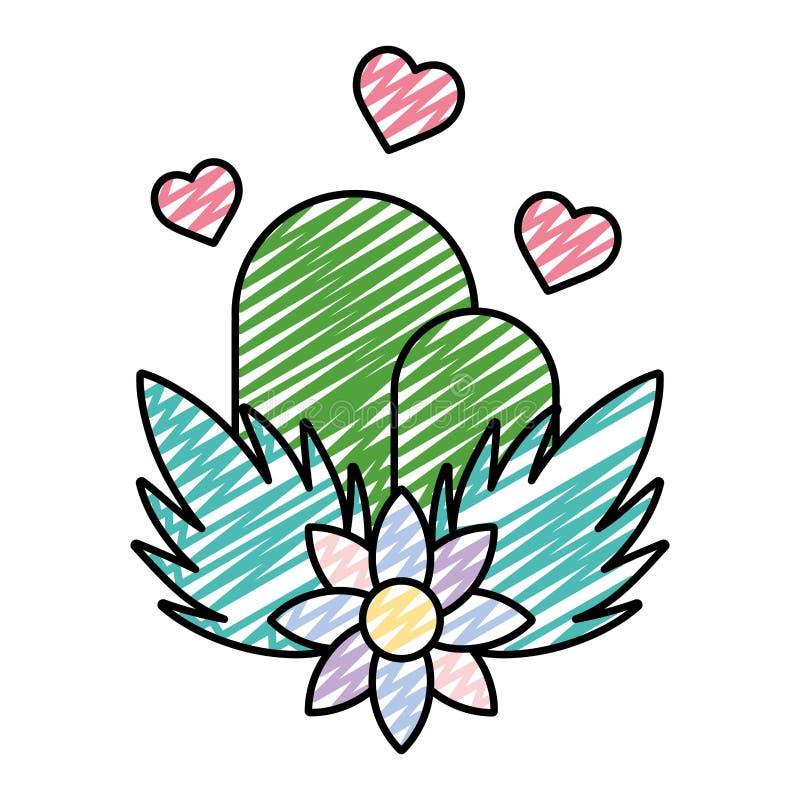Montañas de la ecología del garabato con los corazones y las plantas de las flores ilustración del vector