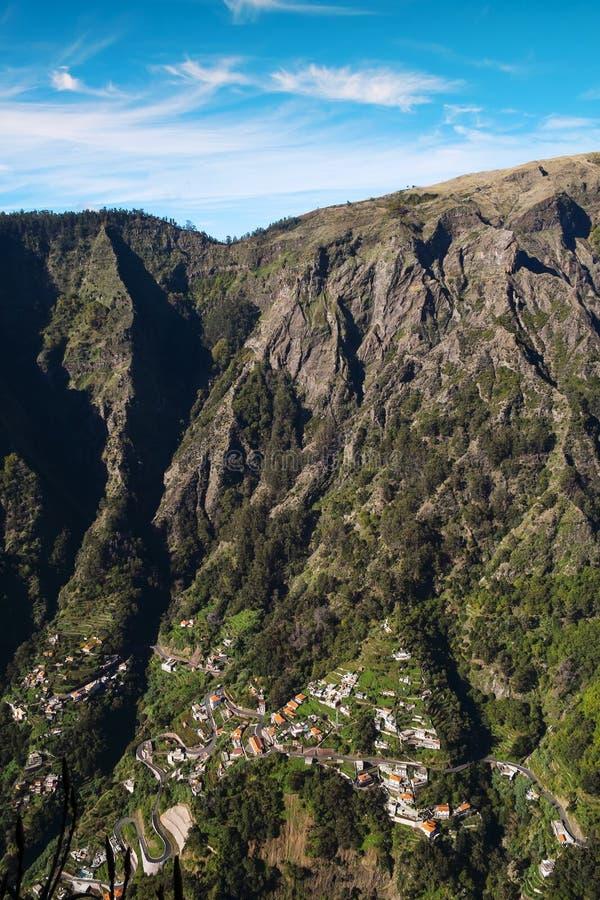 Montañas de la isla de Madeira, valle de las monjas imagen de archivo