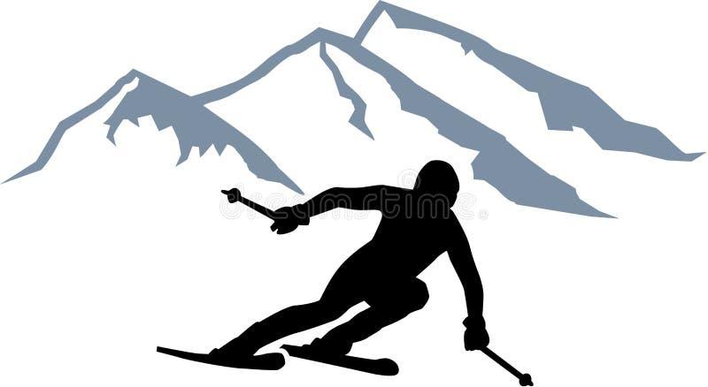 Montañas de la silueta del esquiador libre illustration