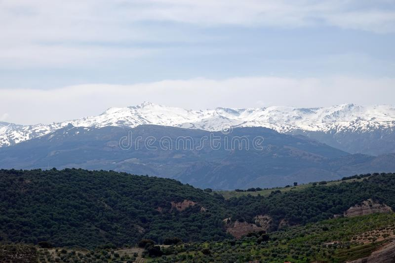 Montañas de Sierra Nevada cerca de Granada en Andalucía, España fotos de archivo libres de regalías