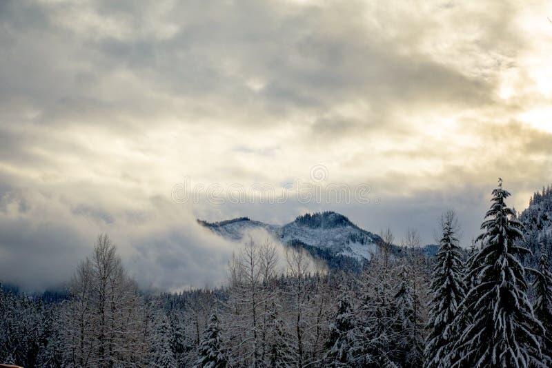 Montañas de Snoqualmie con niebla imagenes de archivo
