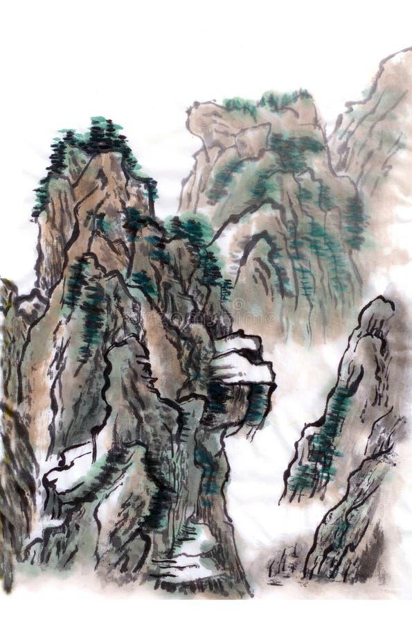 Montañas del paisaje de la pintura china libre illustration