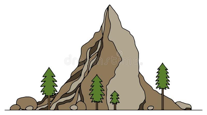 Montañas dibujadas mano ilustración del vector
