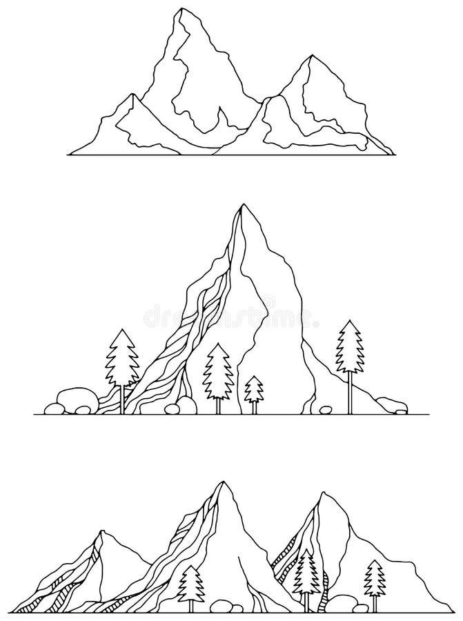 Montañas dibujadas mano libre illustration
