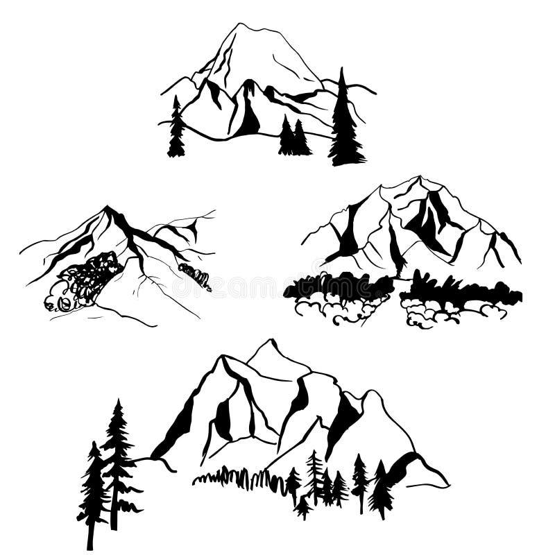 Montañas dibujadas mano Ejemplo del bosquejo del vector libre illustration