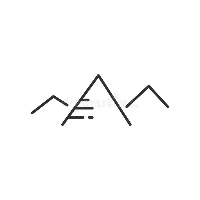 Montañas e icono linear plano del sol en colores blancos y negros Alinee el icono del vector para los sitios web y el dise?o plan libre illustration