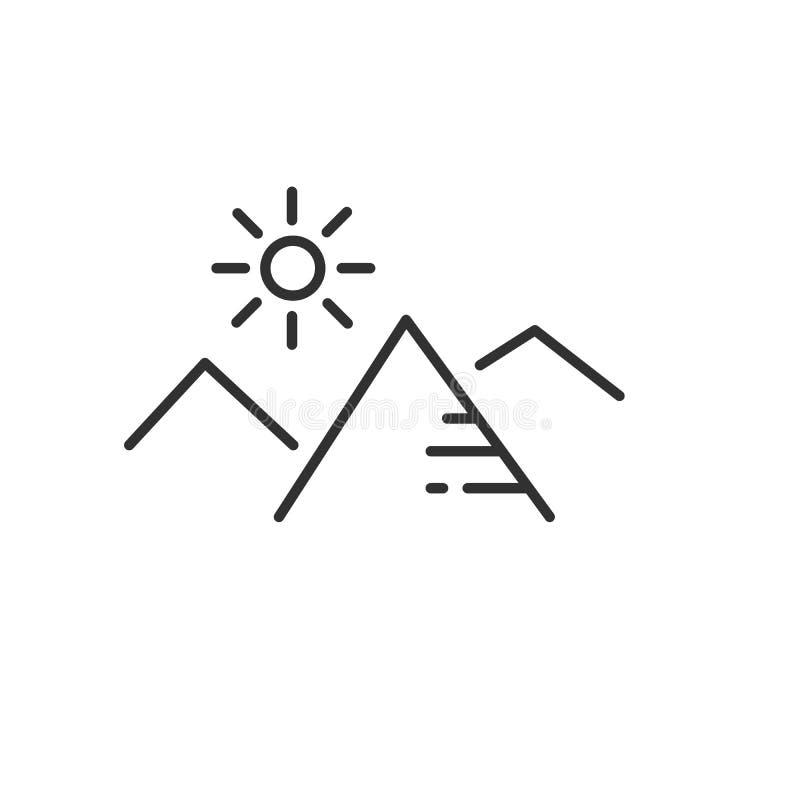 Montañas e icono linear plano del sol en colores blancos y negros Alinee el icono del vector para los sitios web y el dise?o plan stock de ilustración