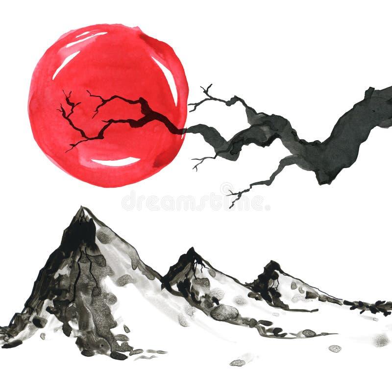 Montañas en estilo japonés Ejemplo de la pintura de la mano de la acuarela libre illustration