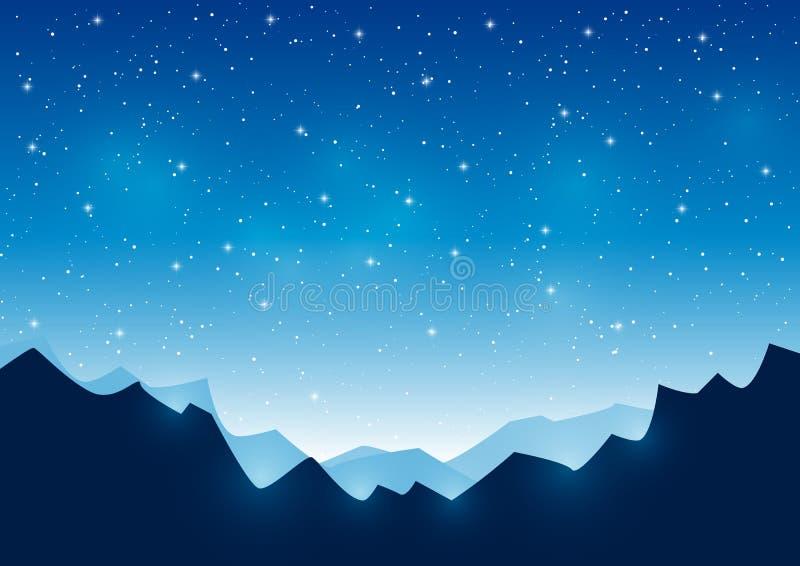 Montañas en fondo estrellado del cielo libre illustration