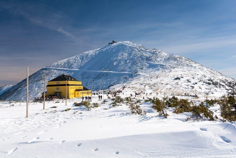 Montañas en invierno, soporte Sniezka, Polonia, República Checa de Karkonosze/de Krkonose foto de archivo