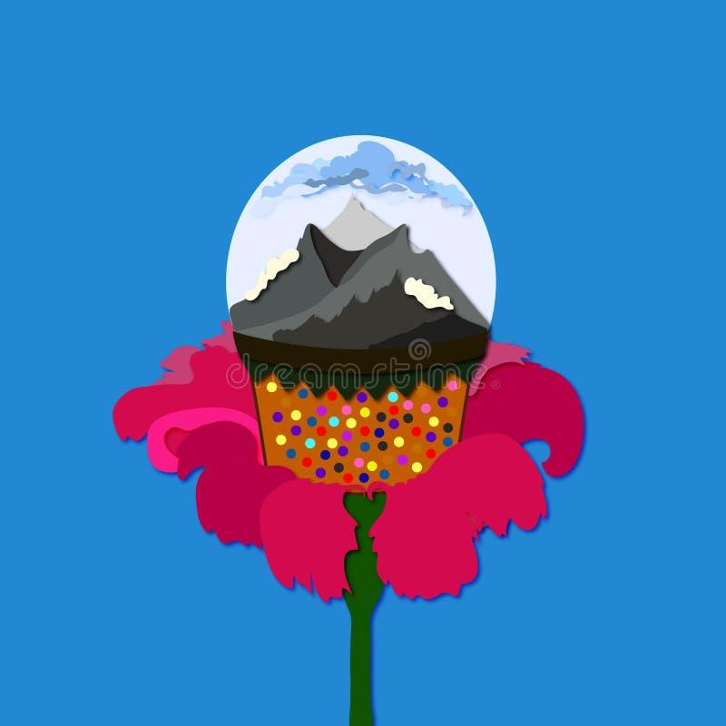 Montañas en una bola con la flor ilustración del vector